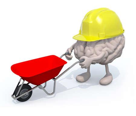 human brain with arms, legs and workhelmet carries a wheelbarrow, 3d illustration