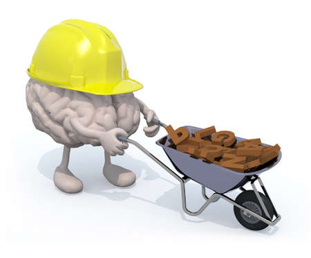 human brain with arms, legs and workhelmet carries a wheelbarrow with letters, 3d illustration illustration