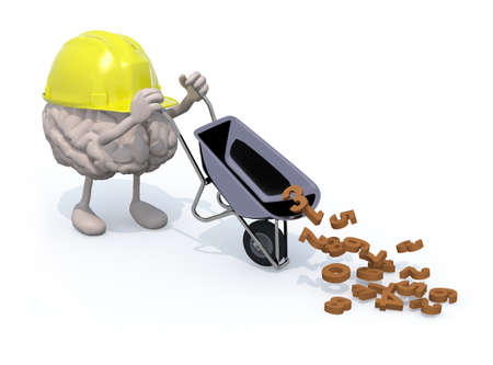 carries: human brain with arms, legs and workhelmet carries a wheelbarrow with numbers, 3d illustration Stock Photo