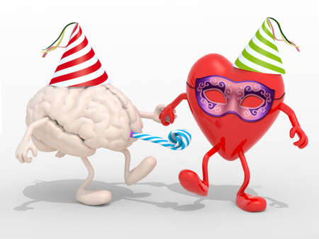 blowers: human brain and heart with arms, legs, party cap, mask, blowers isolated 3d illustration