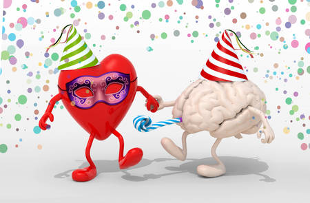 blowers: heart and brain with arms, legs, party cap, blowers, mask and carnival decorations, 3d illustration