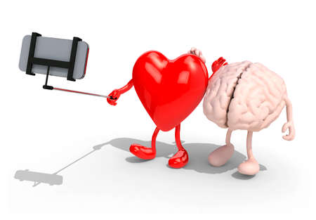 cartoon human: human brain and heart with arms and legs take a self portrait with her smart phone, 3d illustration
