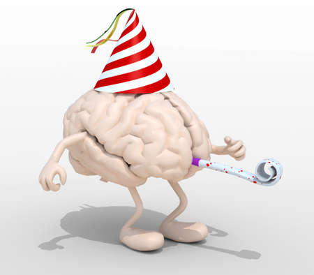 blowers: human brain with arms, legs, party cap and blowers, 3d illustration