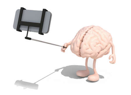 human brain with arms and legs take a self portrait with her smart phone, 3d illustration Banco de Imagens
