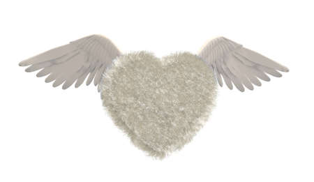boldness: Heart in fur with bird wings isolated, 3d illustration Stock Photo