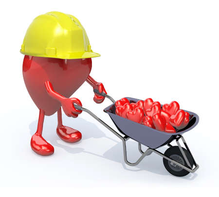 carries: heart with arms, legs and workhelmet carries a wheelbarrow with hearts, 3d illustration