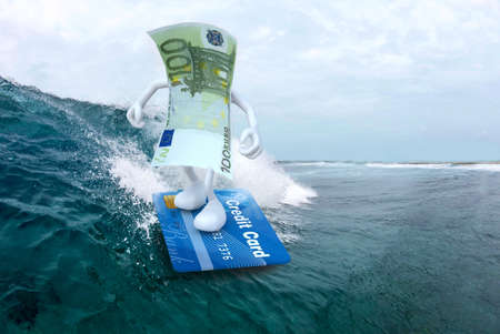 euro banknote with arms and legs surfing with credit card surfboard, 3d illustration