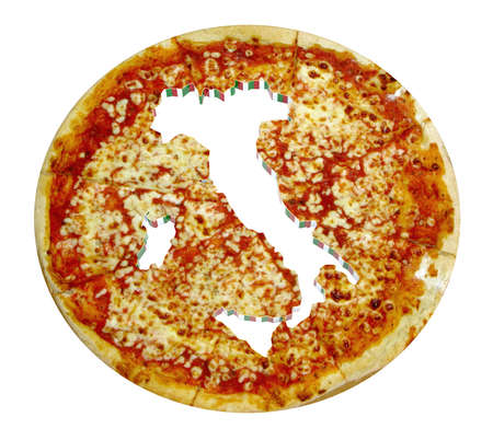 cropped: Italy country map cropped on pizza isolated on white, 3d illustration Stock Photo