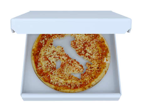 cropped: Italy country map cropped on pizza inside box, isolated on white, 3d illustration