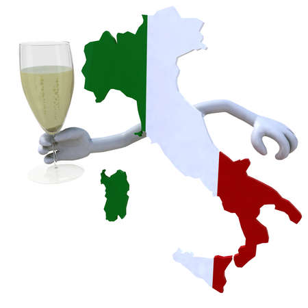 bung: map of Italy cheers with a glass of sparkling wine