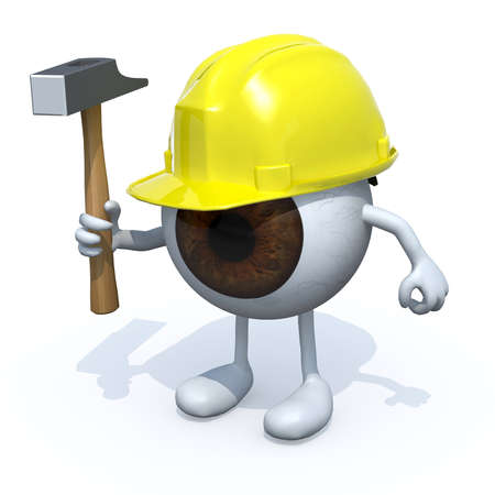 accident prevention: eyeball with arms, legs, yellow helmet and hammer on hand, 3d illustration Stock Photo
