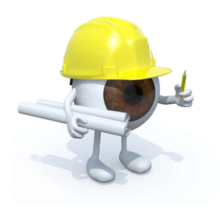 building inspector: eyeball architect with plans hard helmet and pencil. 3d illustration isolated white background.