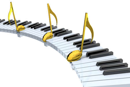 piano keyboard abstract with golden musical notes, isolated on white 3d illustration Imagens