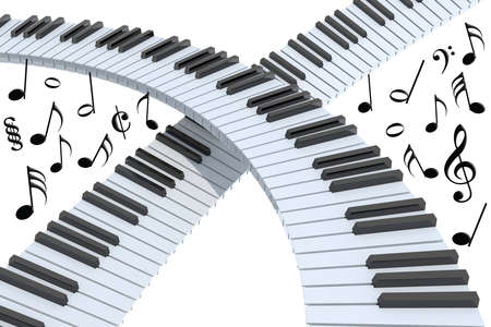 piano keyboard abstract with musical notes, isolated on white 3d illustration