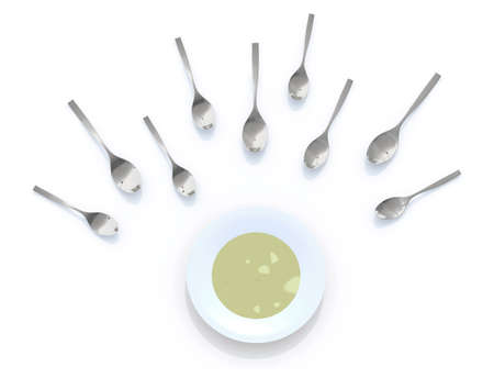 sex cell: soup plate and spoons look like sperm competition, 3d illustration Stock Photo