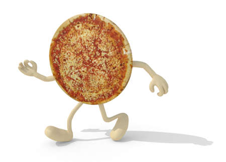 walk away: pizza with arms and legs walking, isolated 3d illustration