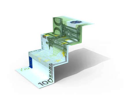€ 100 banknote folded as steps on white background, 3d illustration Imagens