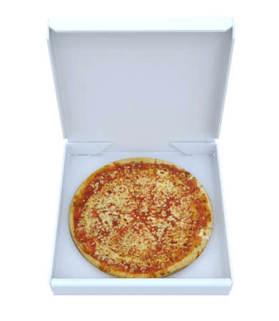 3d pizza: Pizza in box isolated, 3d illustration Stock Photo