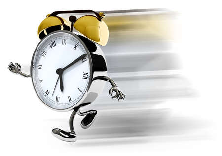 alarm clock with arms and legs running, isolated 3d illustration
