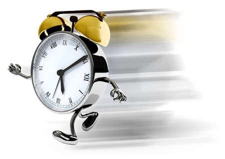 wekker met armen en benen lopen, geïsoleerde 3d illustratie Stockfoto