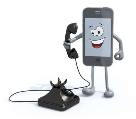 cartoon smartphone with arms and legs use an old telephone, 3d illustration