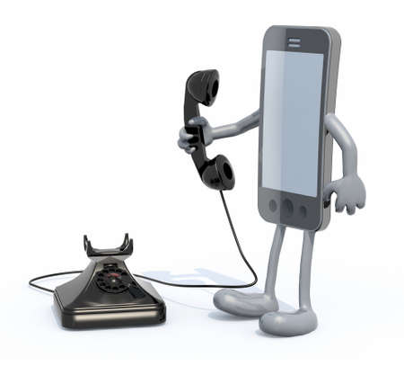 old telephone: cartoon smartphone with arms and legs use an old telephone, 3d illustration