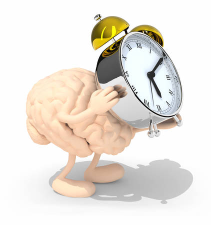 brings: human brain with arms, legs that brings alarm clock, isolated 3d illustration