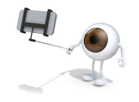 big eye: big eye with arms and legs take a self portrait with her smart phone, 3d illustration