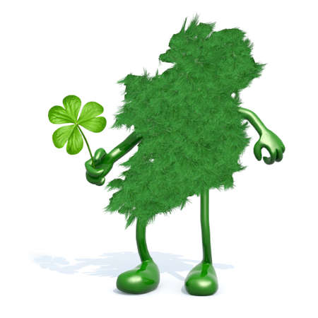 leafed: ireland map made of green grass, with arms, legs and shamrock three leaf on hand
