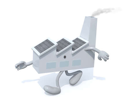 lowbrow: factory with arms and legs walking, isolated 3d illustration