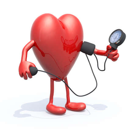 blood pressure monitor: heart with arms and legs measuring blood pressure, isolated 3d illustration
