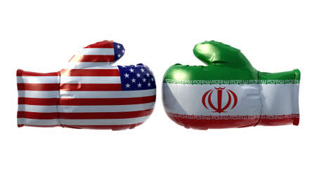iran: Boxing gloves with Usa and Iran flag, isolated 3d illustration