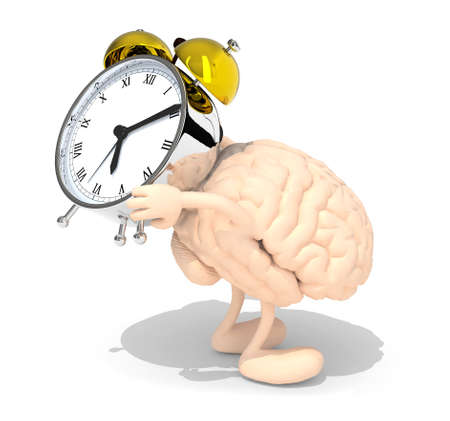 alarmclock: human brain with arms, legs that brings alarm clock, isolated 3d illustration