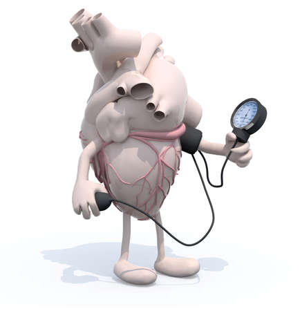 cholesterol: human heart with arms and legs measuring blood pressure, isolated 3d illustration