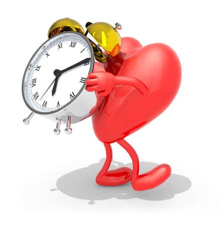 brings: heart with arms, legs that brings alarm clock, isolated 3d illustration