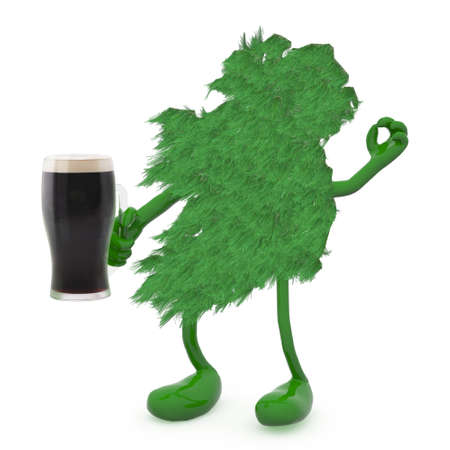 ireland map: ireland map made of green grass, with arms, legs and glass mug of dark beer on hand, 3d illustration Stock Photo