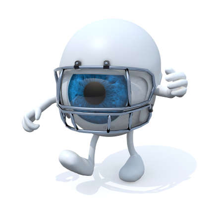 american downloads: big eye with arms, legs and rugby helmet, 3d illustration