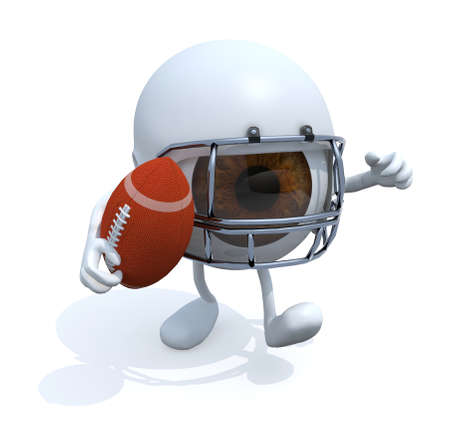 eye ball: big eye with arms, legs, helmet and rugby ball, 3d illustration