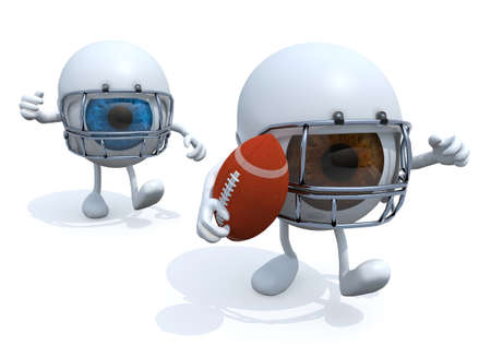 american downloads: two big eyes with arms, legs, helmet and rugby ball, 3d illustration