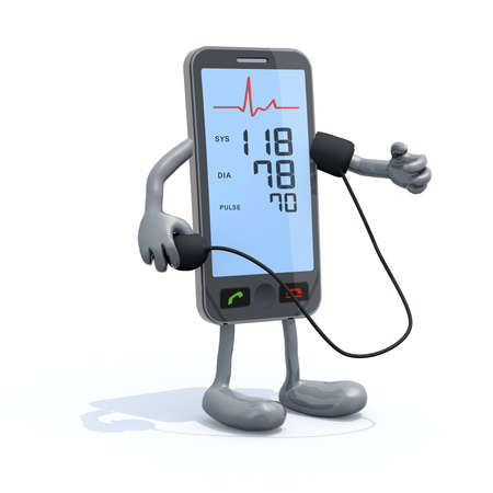bpm: smartphone with arms and legs that is measuring blood pressure, isolated 3d illustration