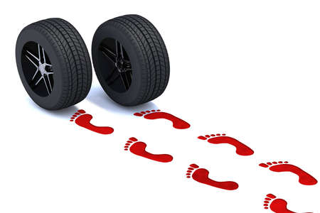 smashup: red footsteps walking with tires, 3d illustration Stock Photo