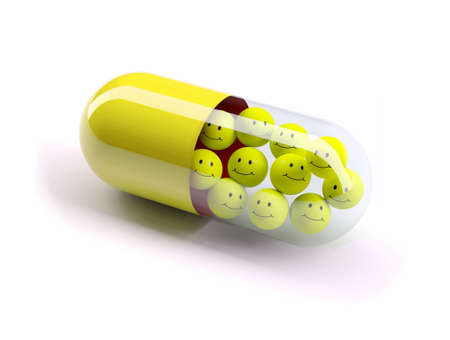 happy face: red pill filled with yellow balls, isolated 3d illustration Stock Photo