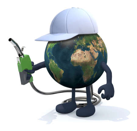 fuel pump: planet earth with arms, legs and fuel pump on hand, 3d illustration Stock Photo