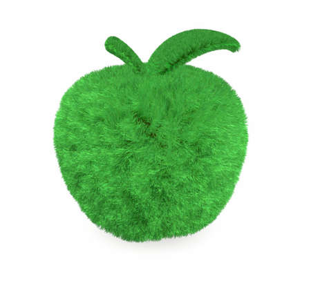 green grass: apple made with green grass, isolated 3d illustration