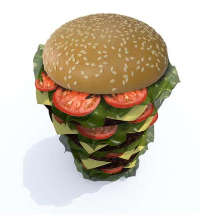 extra large size: hamburger tower, isolated  3d illustration Stock Photo