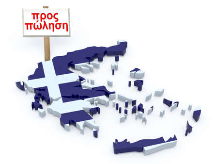 greek currency: greece 3d map with sign for sale (greek language) crisis concept Stock Photo