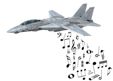 instead: warplane launching musical notes instead of bombs, 3d illustration