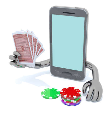 online roulette: smartphone with arms and legs been playing poker, 3d illustration