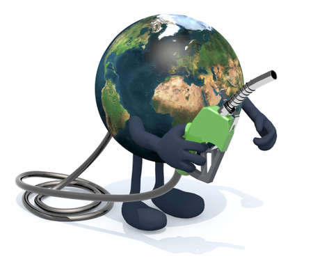 earth globe: planet earth with arms, legs and fuel pump on hand, 3d illustration Stock Photo