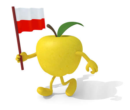 yellow apple: yellow apple with arms, legs and flag on hand, 3d illustration